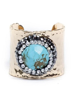 Whitley V PAVE TRIMMED TURQUOISE CUFF RING - Alternate List Image