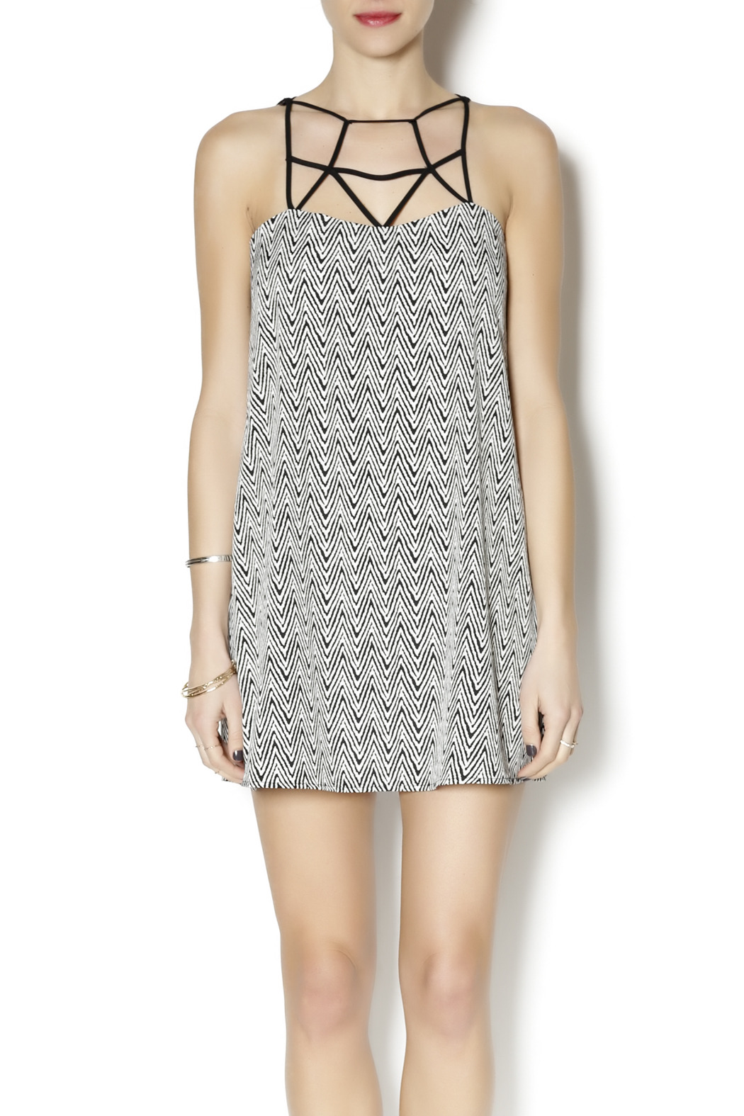 Coveted Clothing Zig Zag Dress - Front Cropped Image