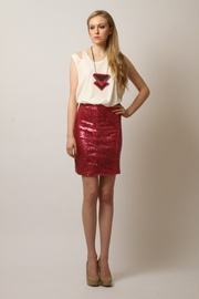 Gwen Beloti Sequin Mini Skirt - Front full body