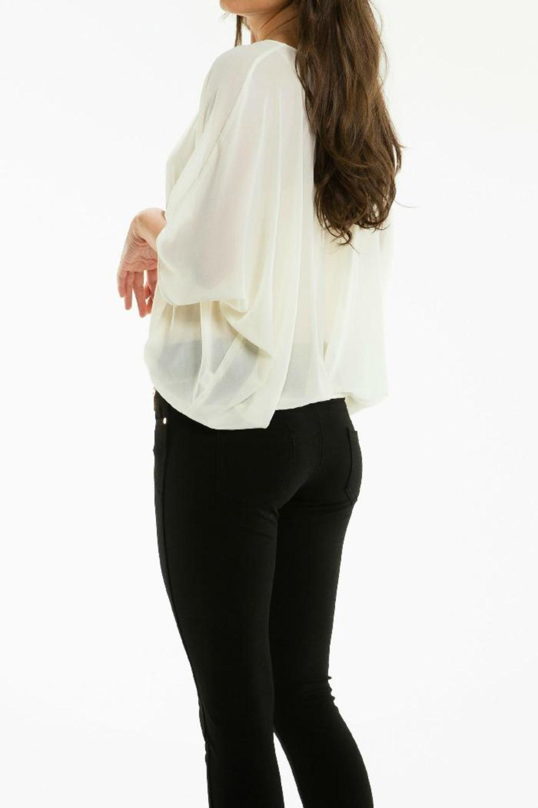 Elan Cream Zipper Top - Front Full Image