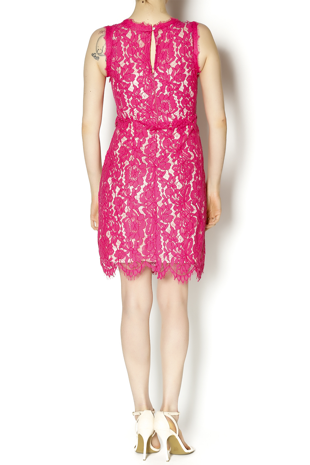 Darling Pink Lace Dress - Side Cropped Image