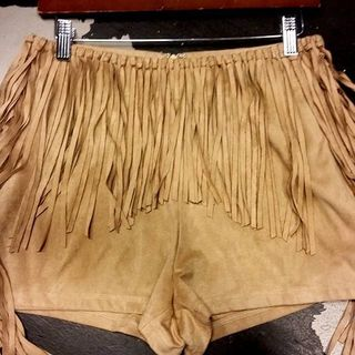 Shoptiques Faux Leather Tassel Shorts