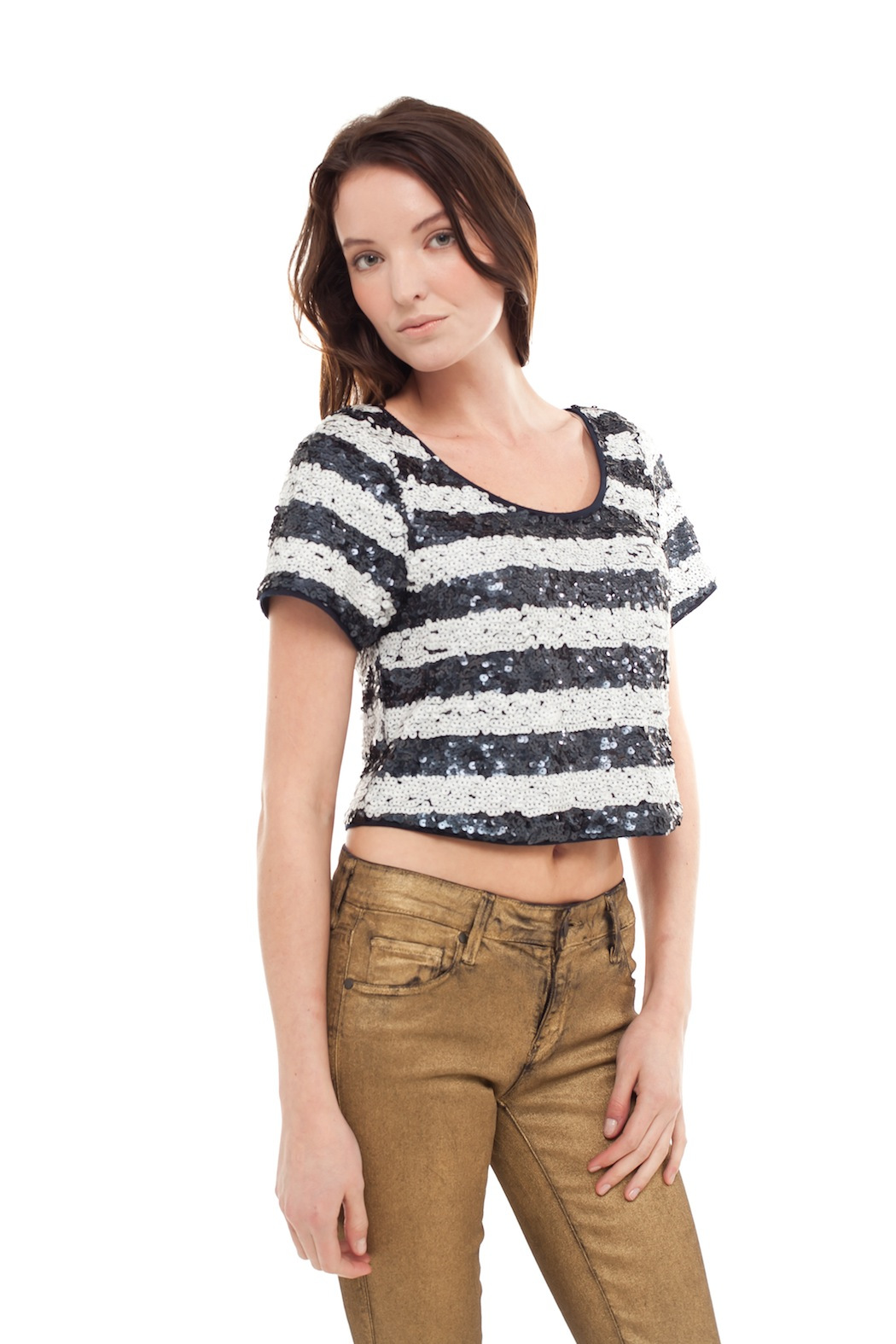 Ark & Co. Cropped Sequin Top - Side Cropped Image