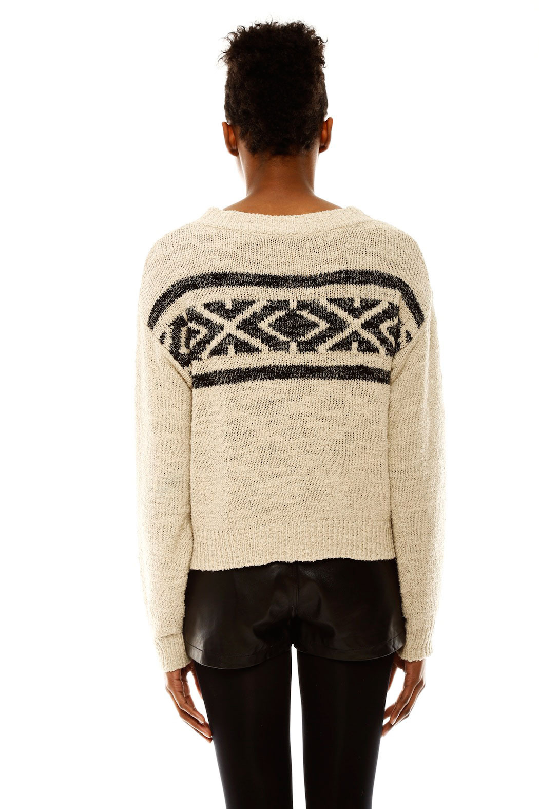 Covet Aztec Cropped Sweater - Back Cropped Image