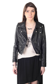 Hide label Leather Perfecto Biker Jacket - Front cropped