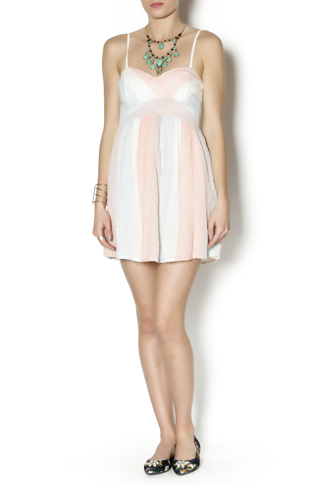 Free People Striped Burlap Dress - Front Full Image