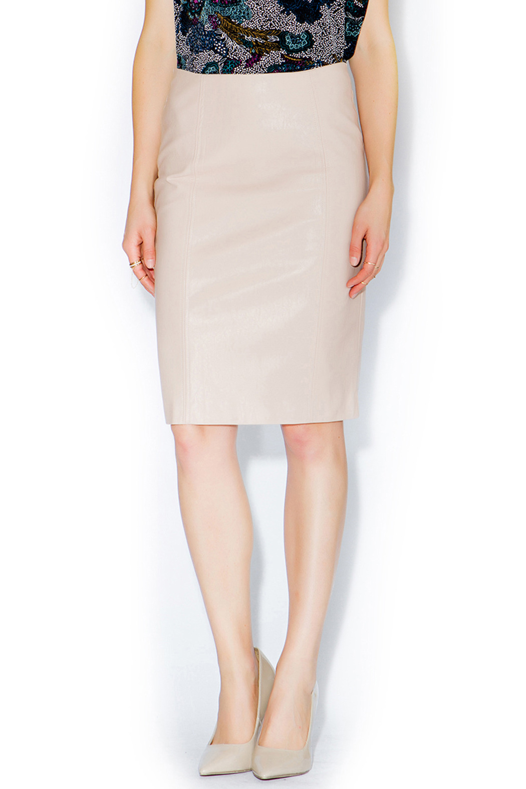 C. Luce Blush Leather Pencil Skirt from Louisiana by Mimosa ...