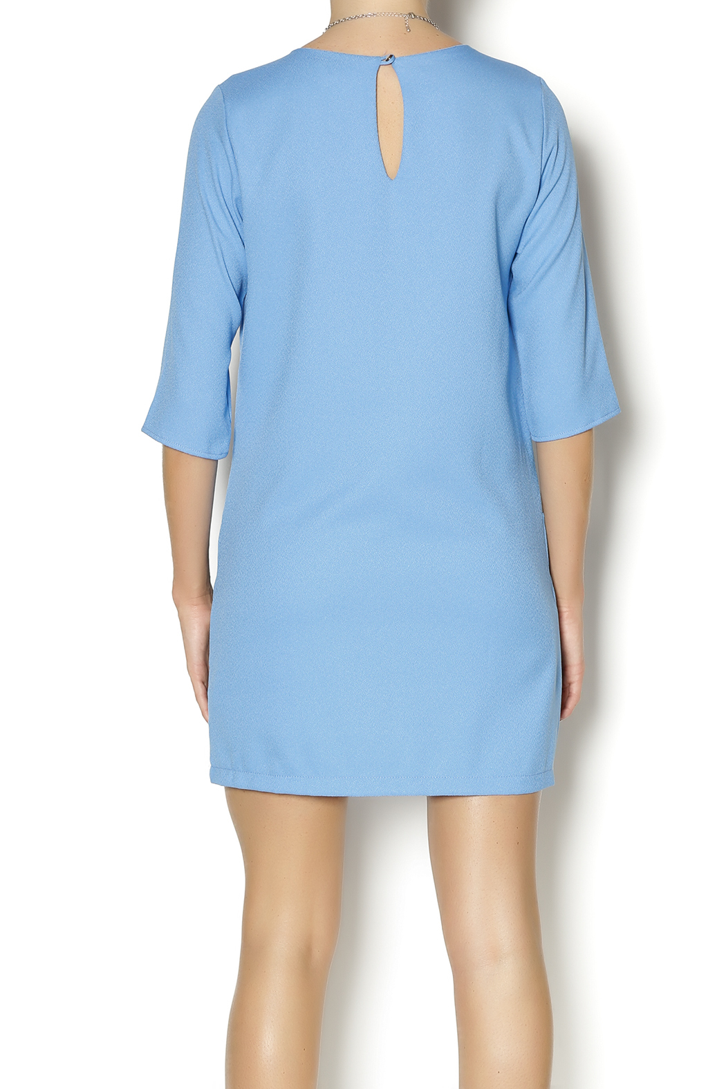 Everly Blue Shirt Dress - Back Cropped Image