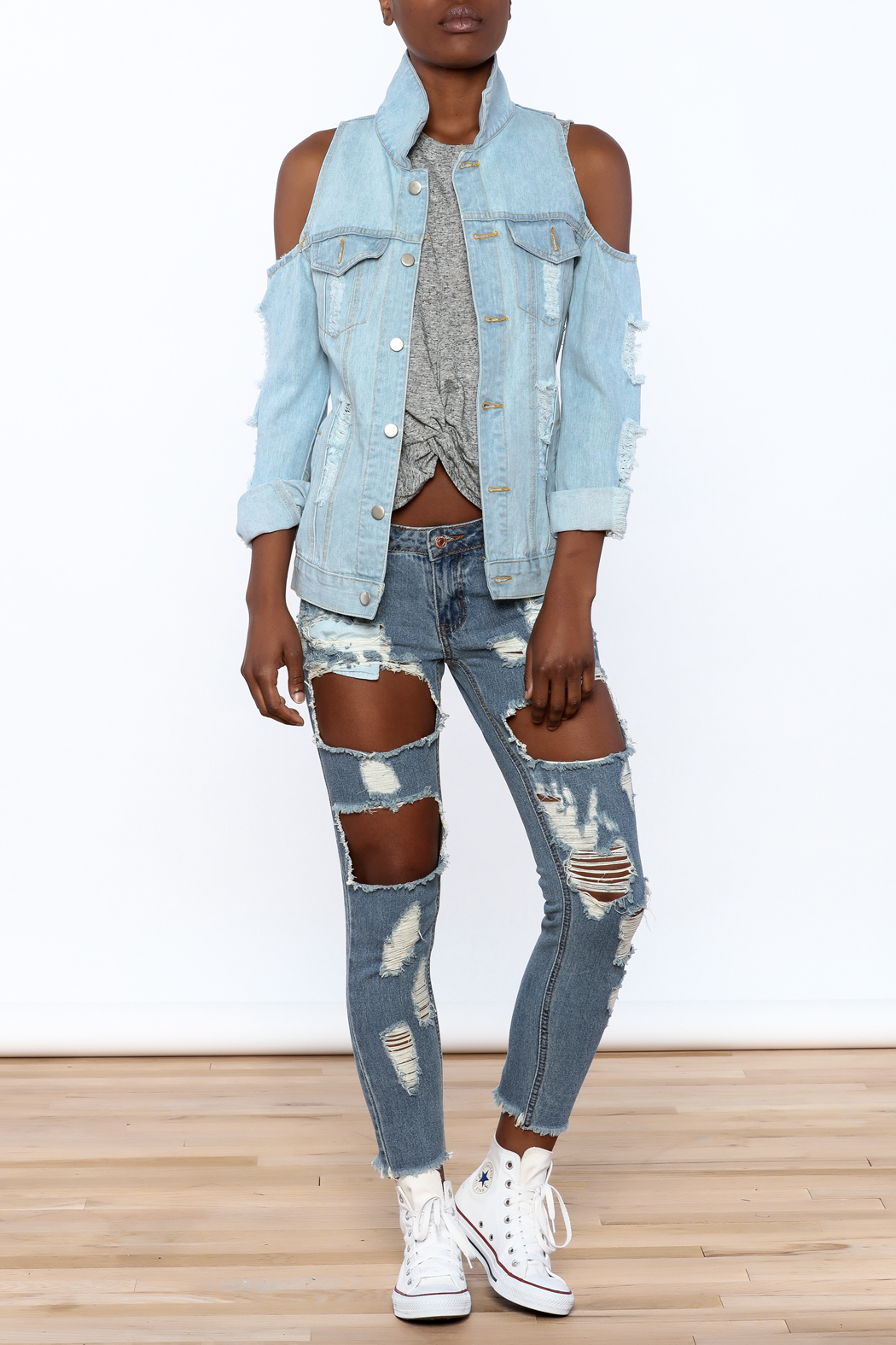 36 POINT 5 Modern Day Denim Jacket - Front Full Image