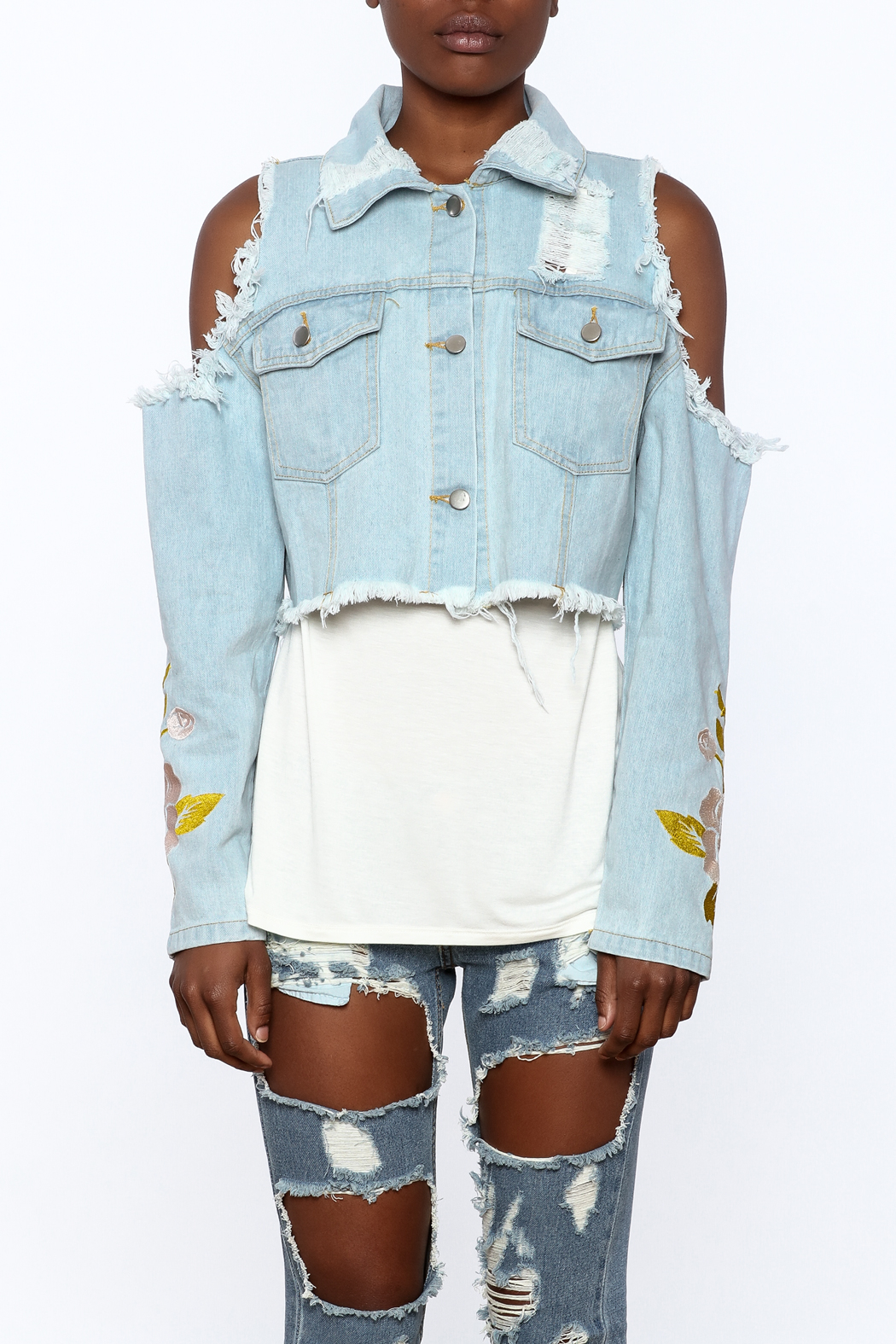 36 POINT 5 Cropped Denim Jacket - Side Cropped Image