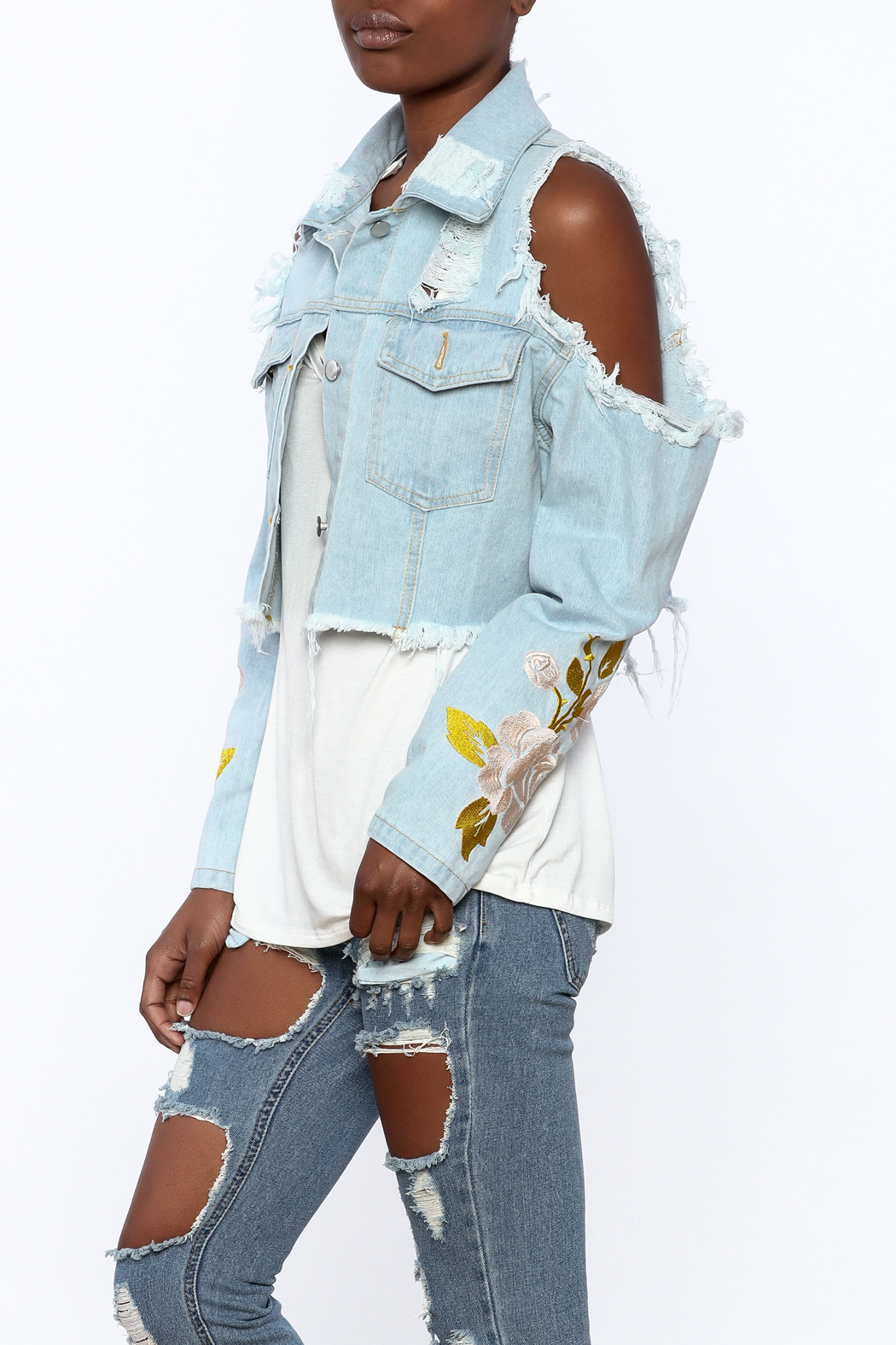 36 POINT 5 Cropped Denim Jacket - Front Cropped Image