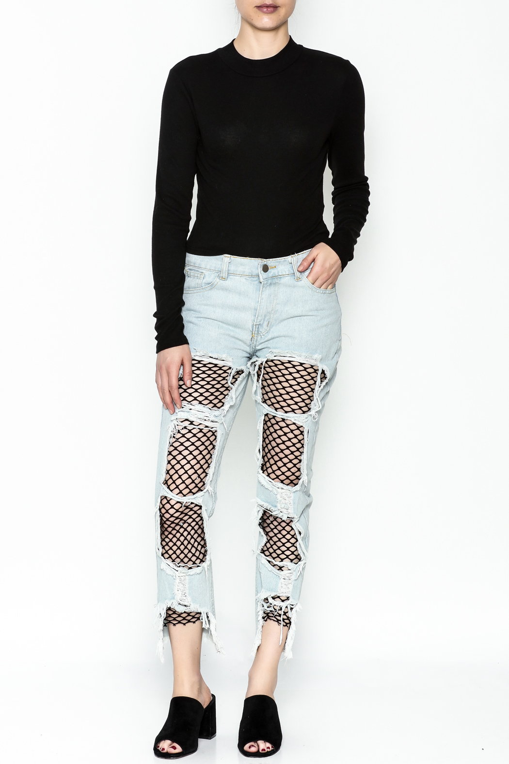 36 POINT 5 Jeans With Fishnets - Side Cropped Image