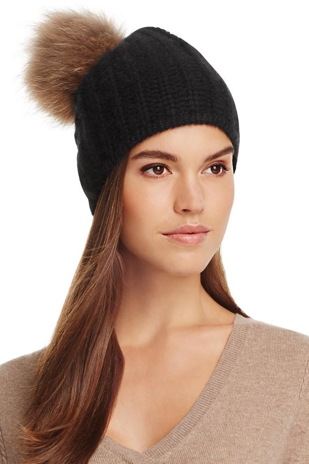 360 Cashmere Haven Pompom Beanie - Front Full Image