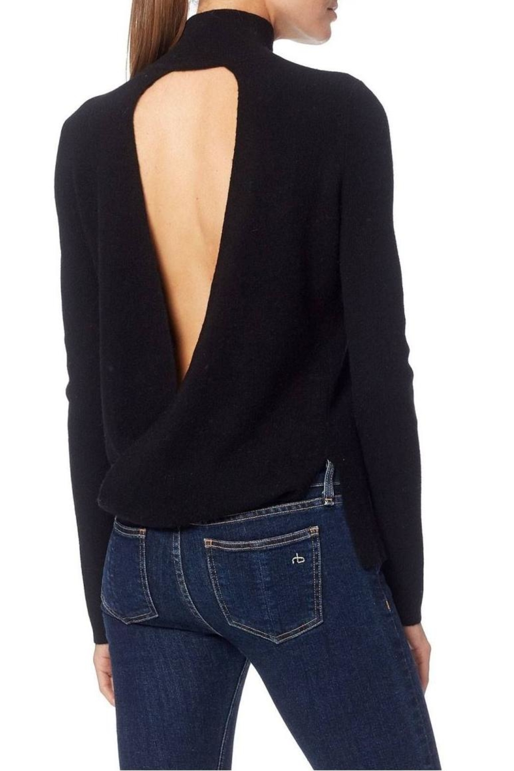 360 Cashmere Open-Back Turtleneck Sweater - Side Cropped Image