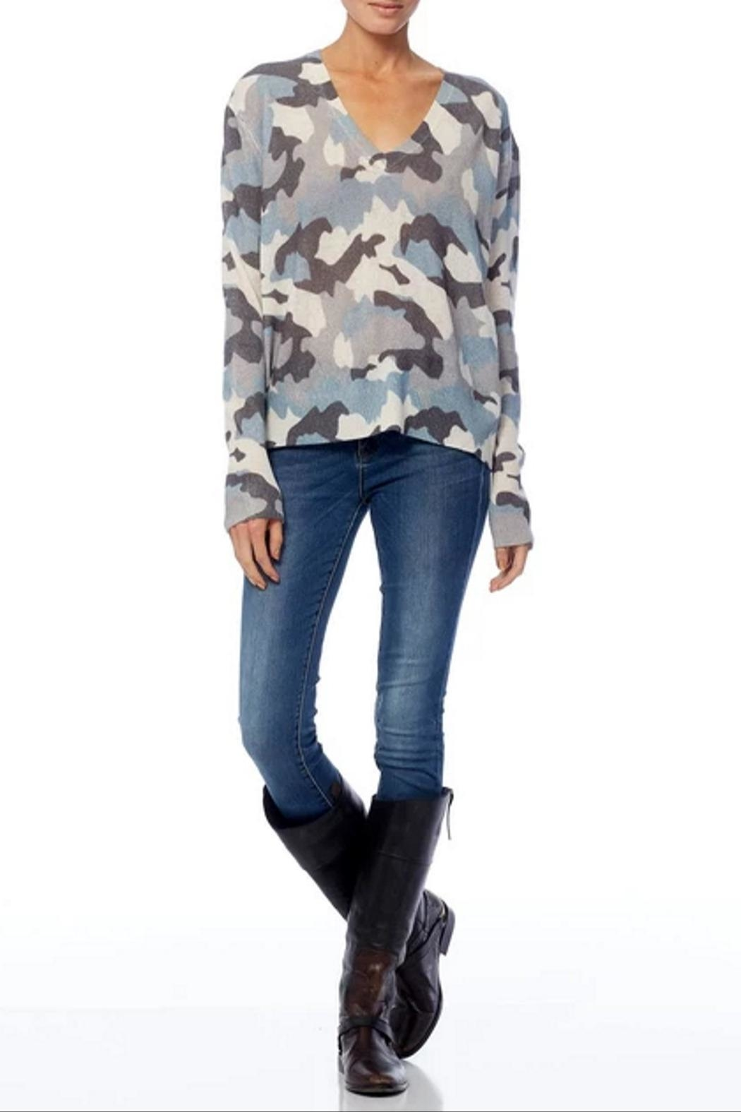 360 Cashmere Theo Camo Sweater - Back Cropped Image
