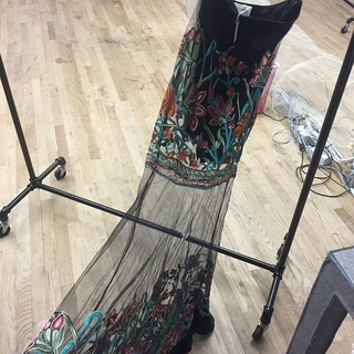 Shoptiques Product: Embroidered Mesh Maxi Skirt