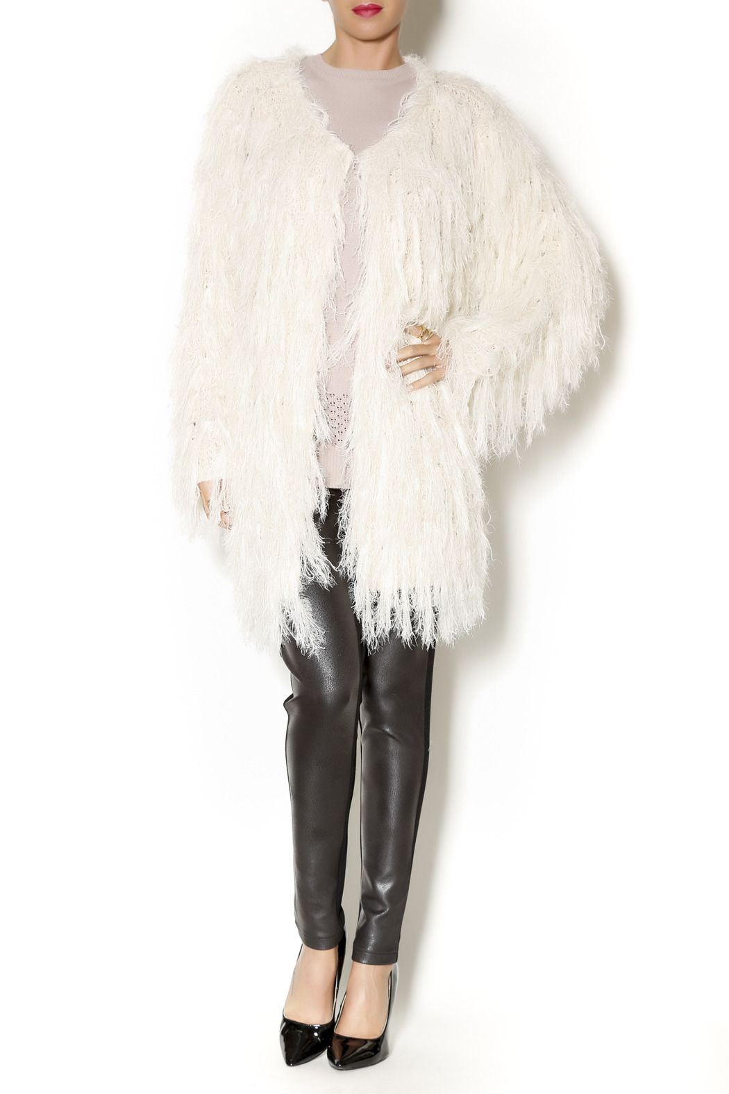 Selfie Couture Sweater Fringe Cardigan - Front Full Image