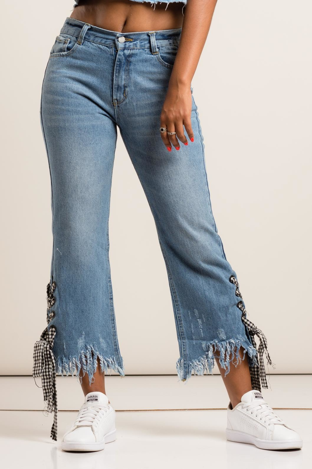 36 POINT 5 Checkered Detail Denim Jeans - Side Cropped Image