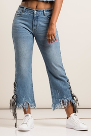 36 POINT 5 Checkered Detail Denim Jeans - Side cropped