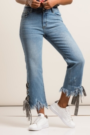 36 POINT 5 Checkered Detail Denim Jeans - Front cropped