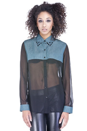 Shoptiques Product: Chiffon & Chambray Blouse