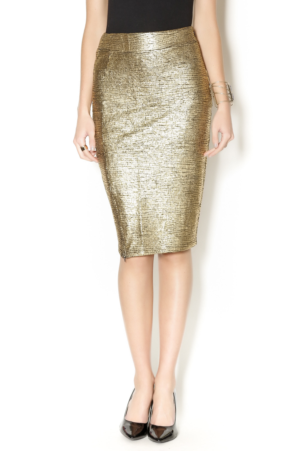 Metallic Gold Pencil Skirt — Shoptiques