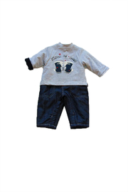 3Pommes Navy Dog One Piece - Front cropped