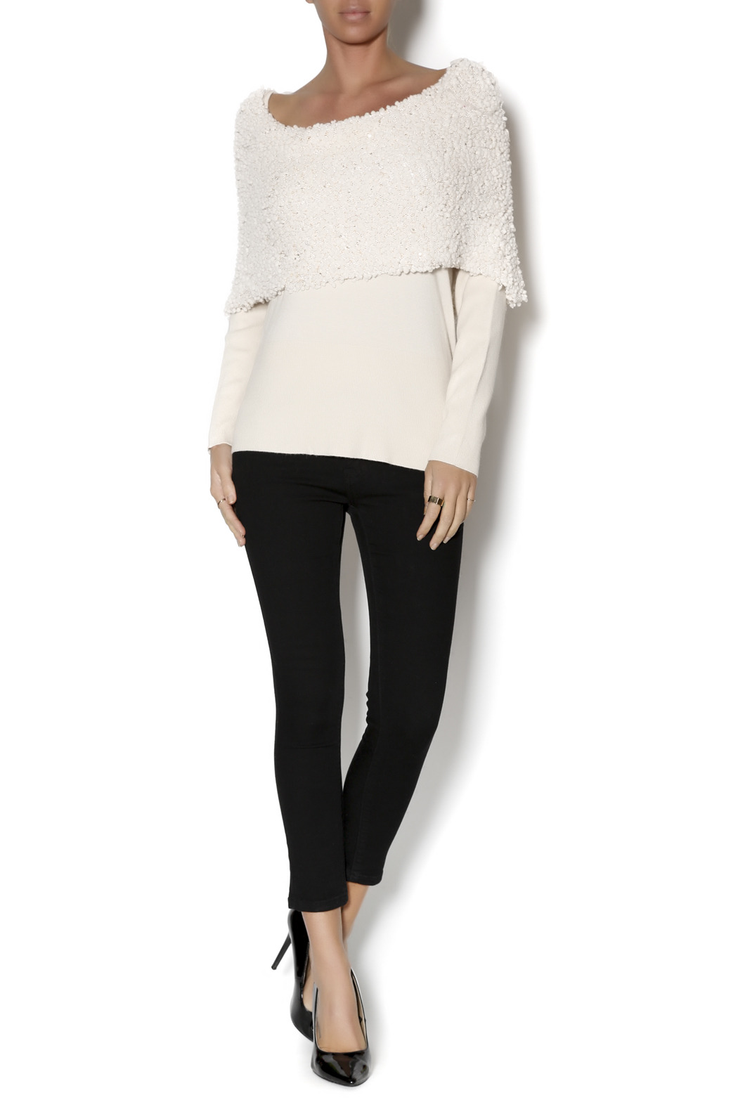 Talk of the Walk Textured Shimmer Sweater - Front Full Image