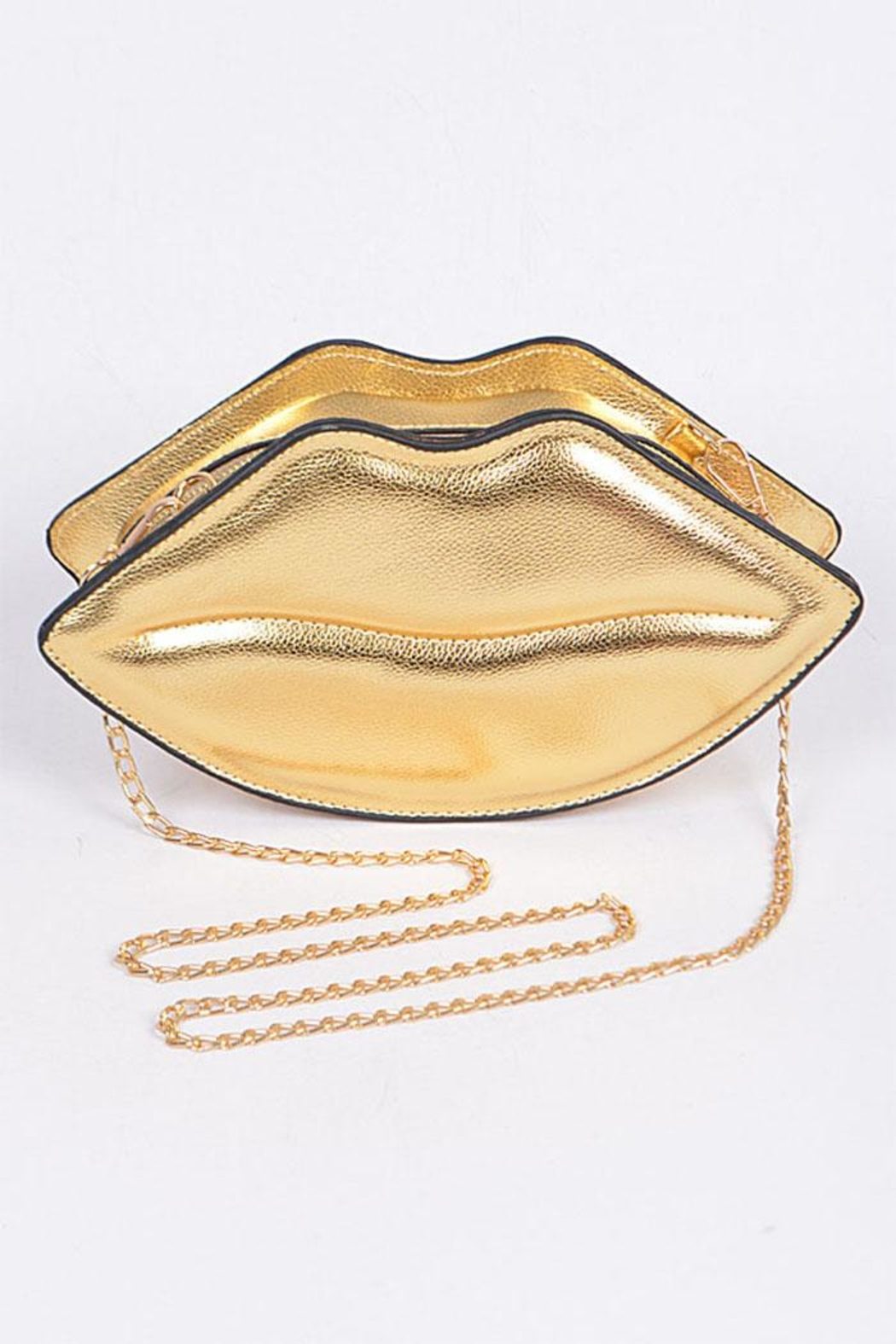 3AM FOREVER Gold Lip Clutch - Front Cropped Image