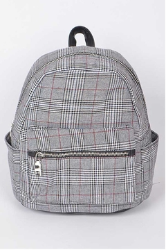 Shoptiques Product: Grey Plaid Backpack