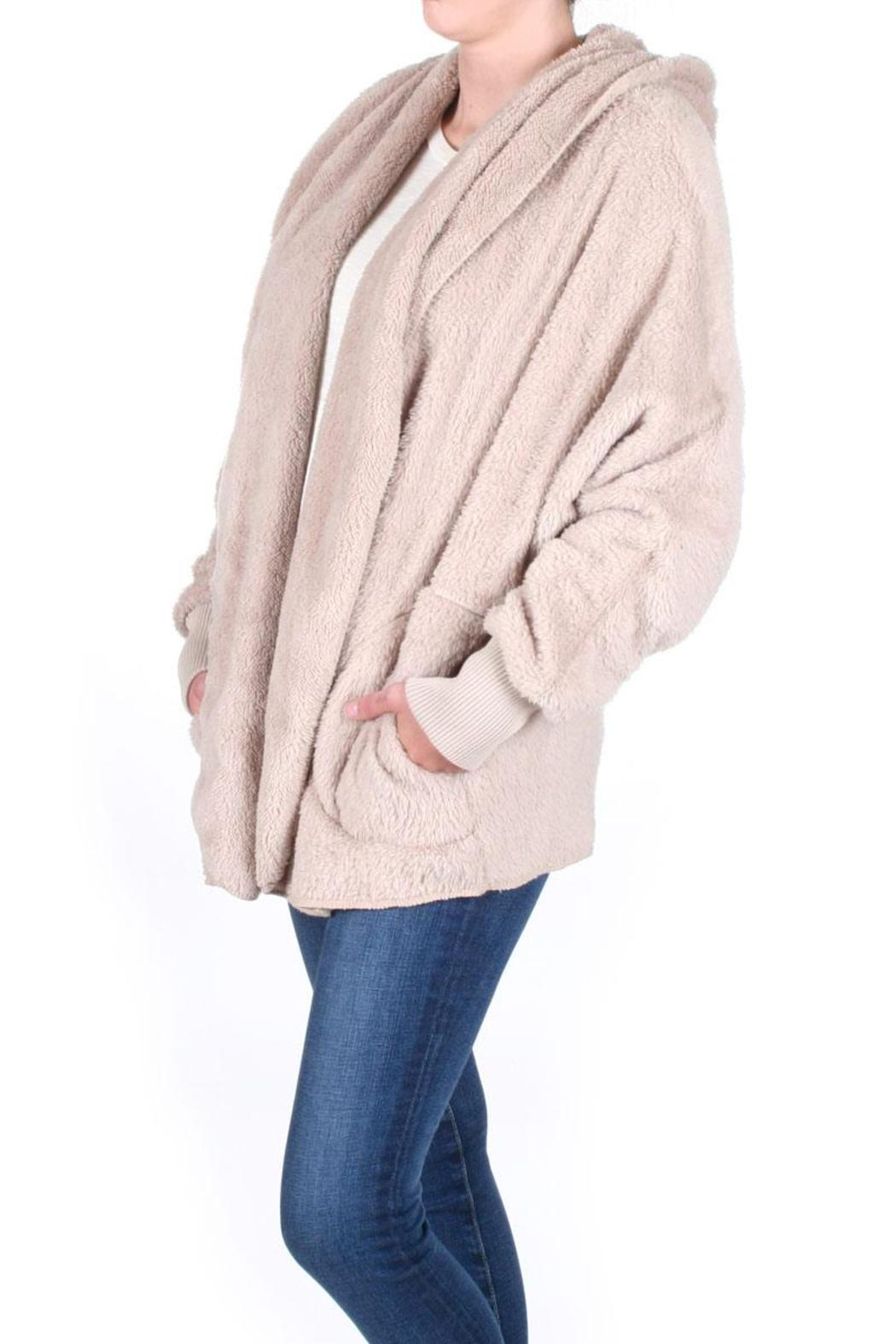 Honey Punch Fuzzy Hooded Jacket - Side Cropped Image