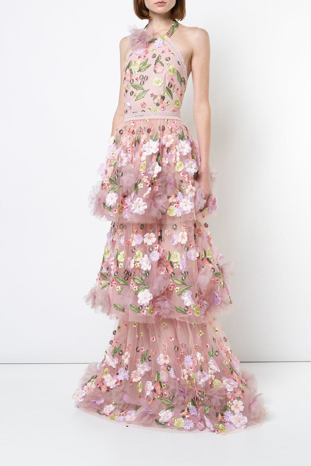 Notte by Marchesa 3d Floral Gown - Front Full Image