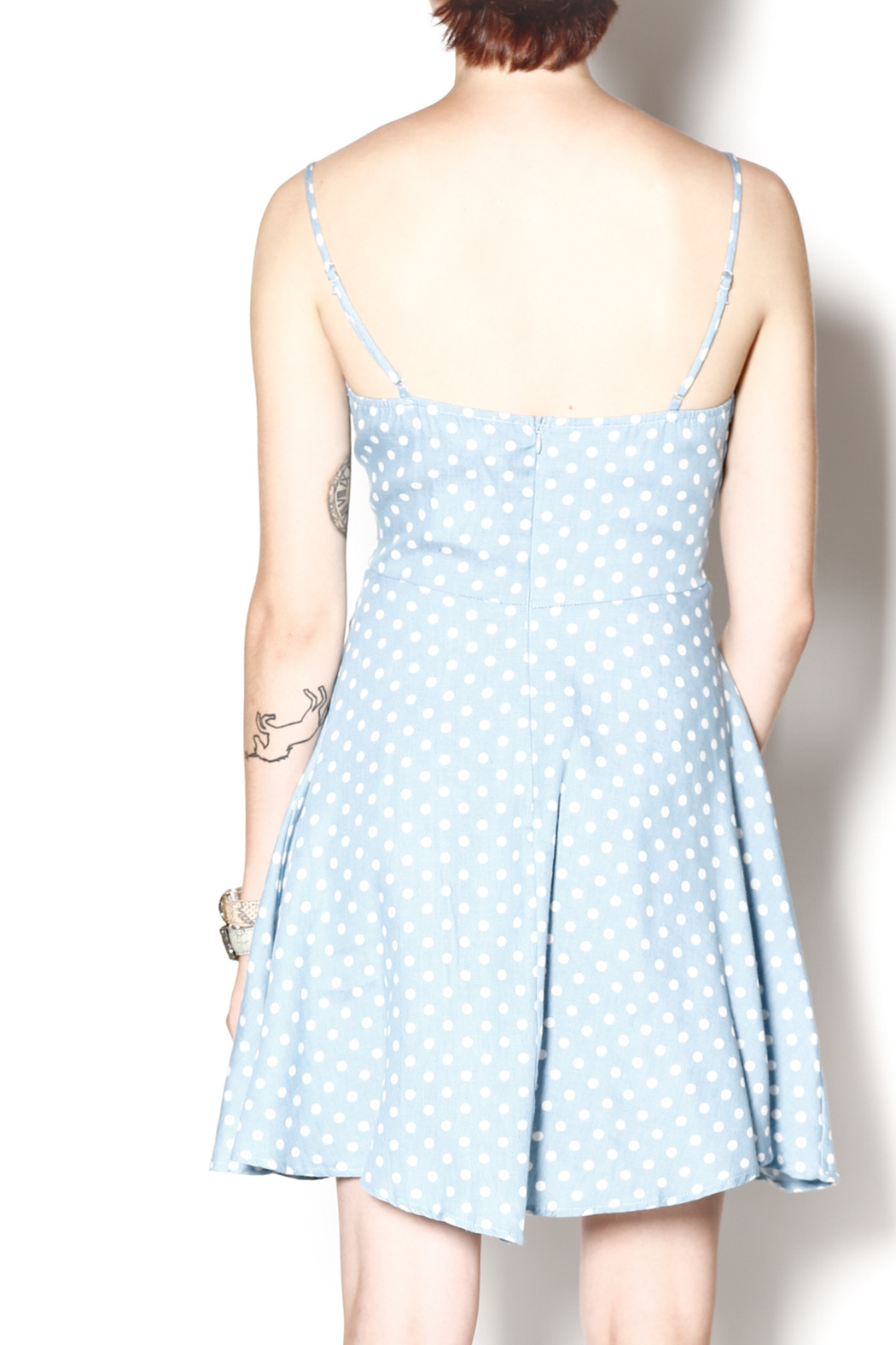 Everly Dotty Chambray Dress - Back Cropped Image