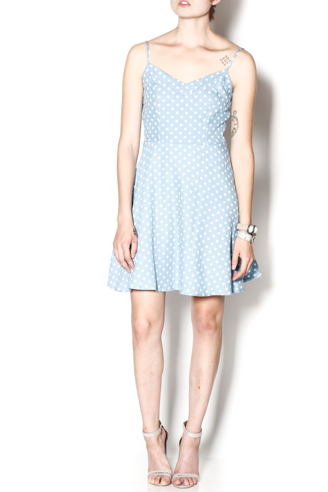 Everly Dotty Chambray Dress - Front Full Image