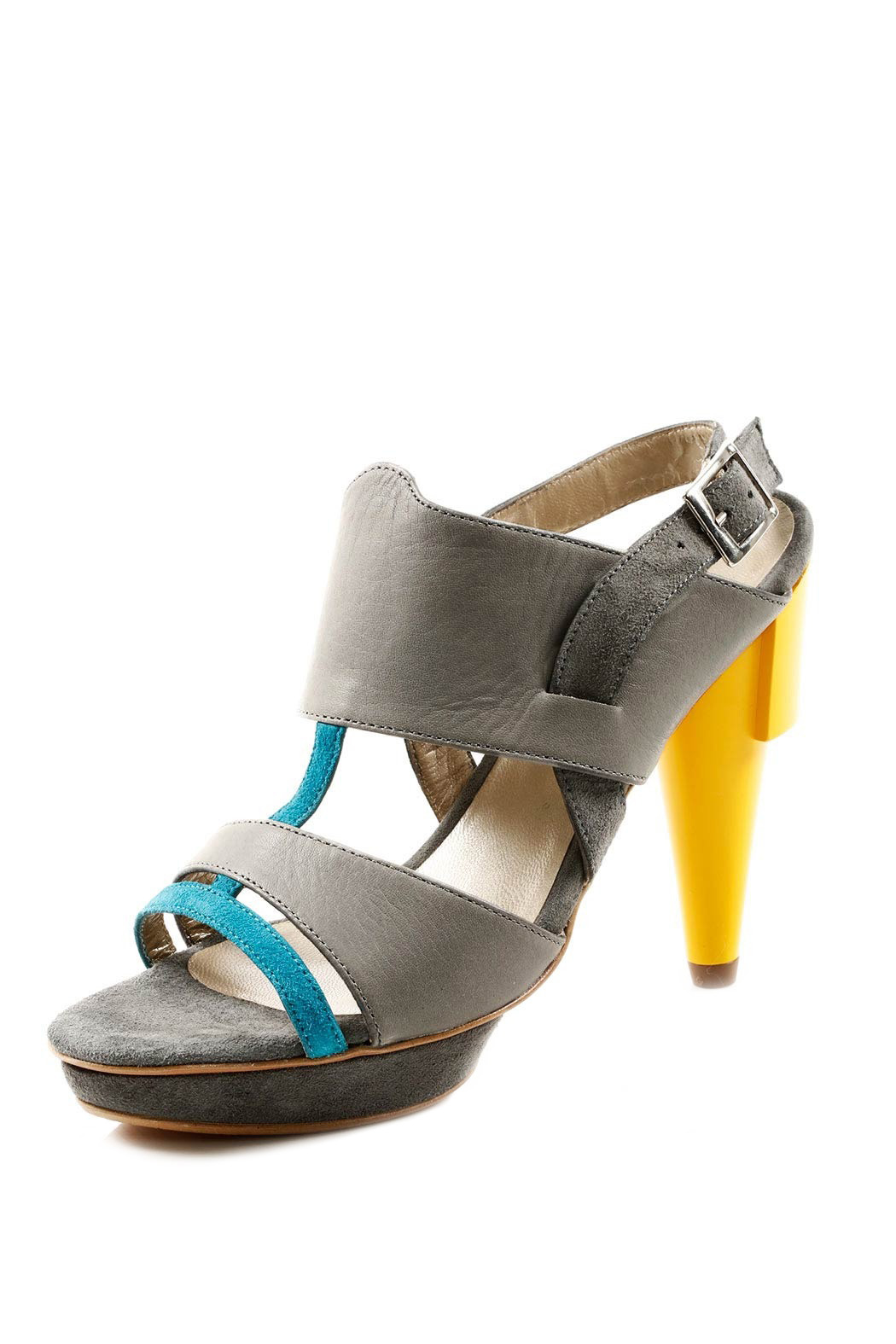 Guava Leather and Suede Heel Sandal - Main Image