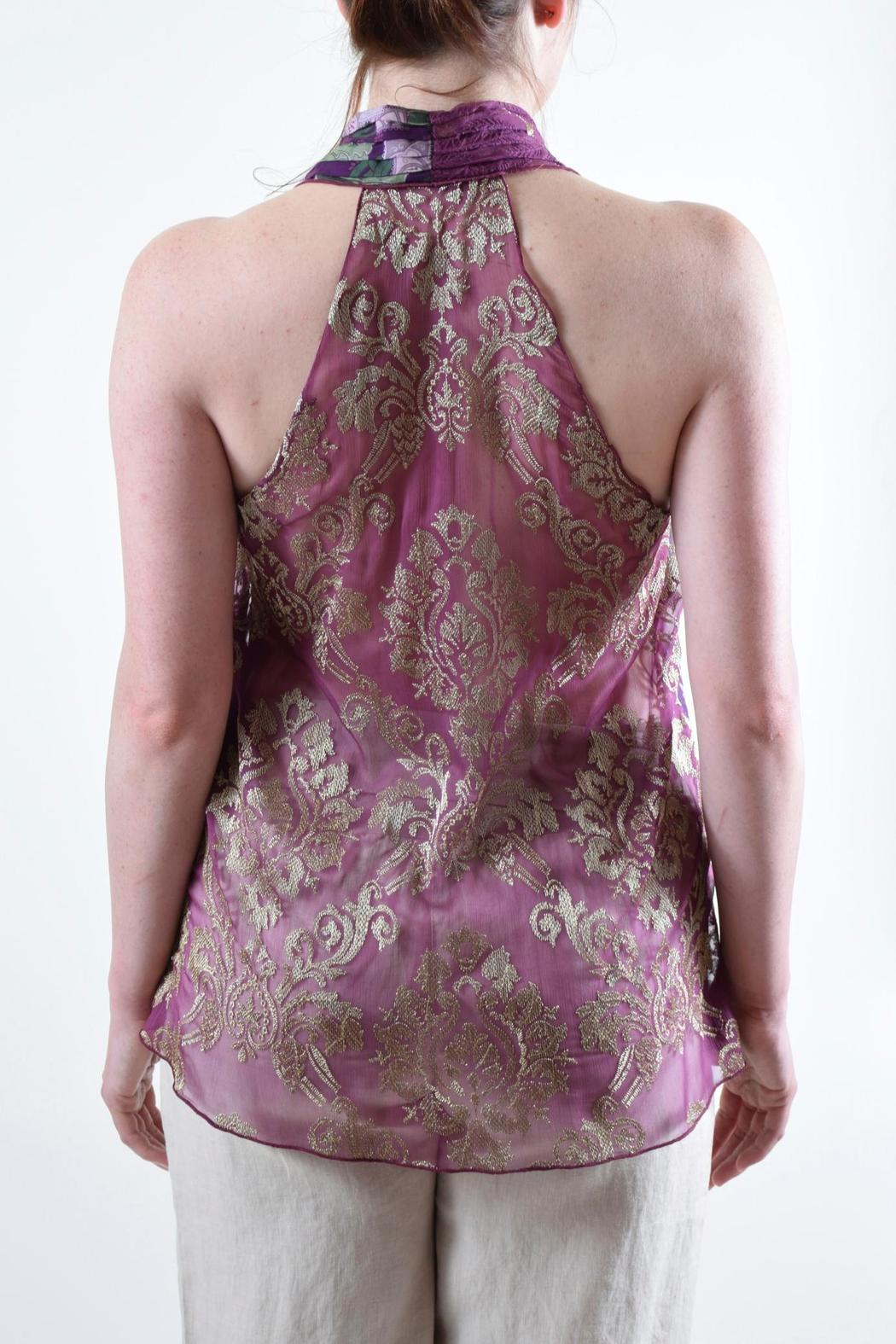 Anna Sui Halter Silk Top - Back Cropped Image