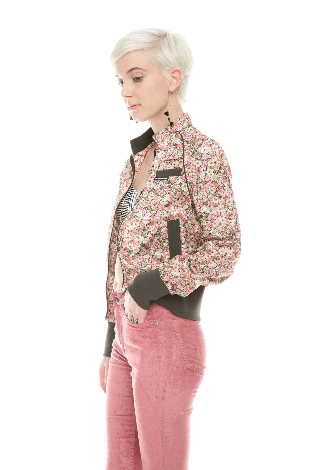 Members Only Floral  Bomber Jacket - Side Cropped Image