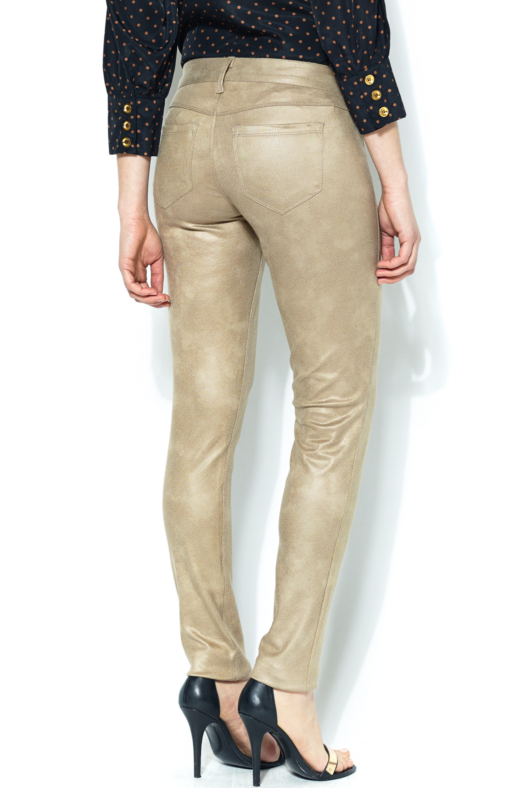 SOLD Faux Suede Skinny Pant - Back Cropped Image