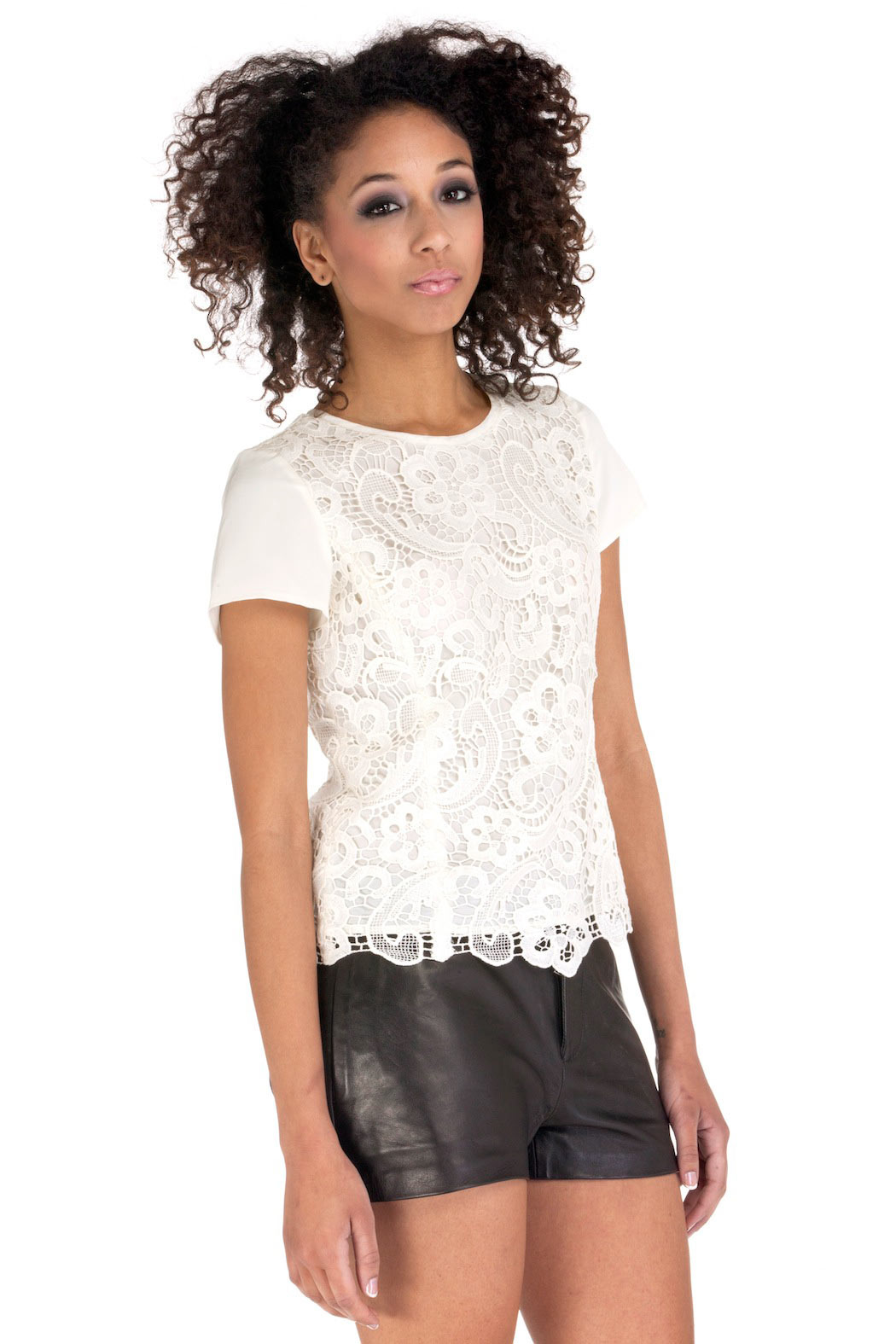 Rebecca Taylor Embroidered Lace Blouse - Side Cropped Image