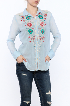 Shoptiques Product: Blue Embroidered Shirt