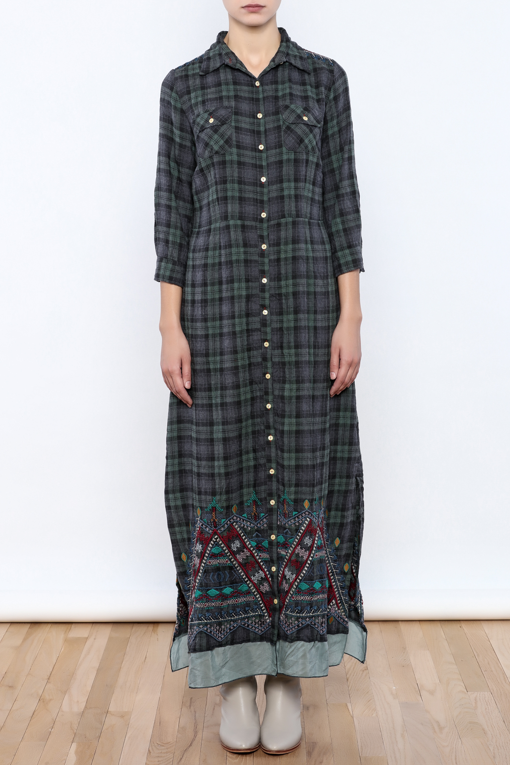 3J Workshop by Johnny Was Embroidered Plaid Maxi - Front Cropped Image