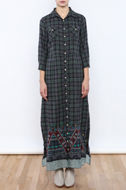 Shoptiques Product: Embroidered Plaid Maxi - Front cropped