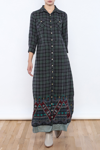 Shoptiques Product: Embroidered Plaid Maxi - main
