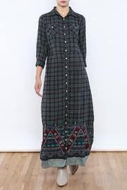 Shoptiques Product: Embroidered Plaid Maxi - Front full body