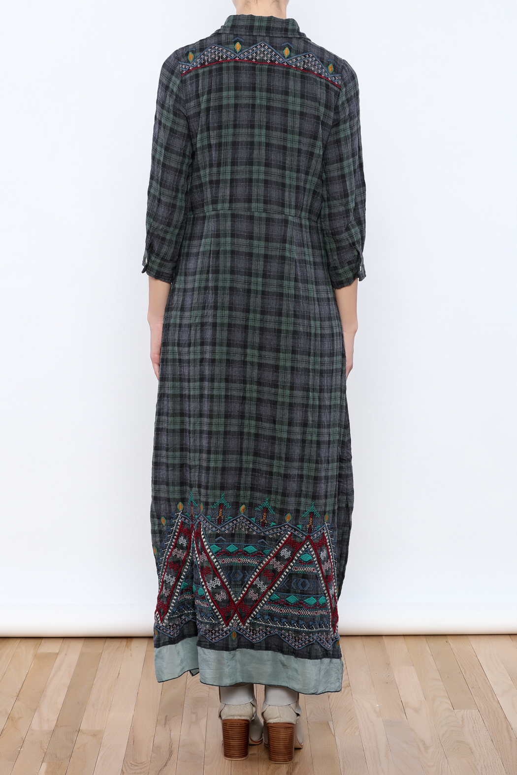 3J Workshop by Johnny Was Embroidered Plaid Maxi - Back Cropped Image