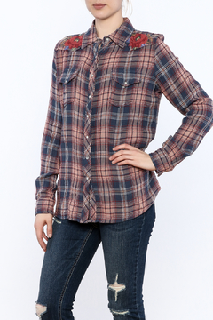 Shoptiques Product: Embroidered Western Plaid Shirt