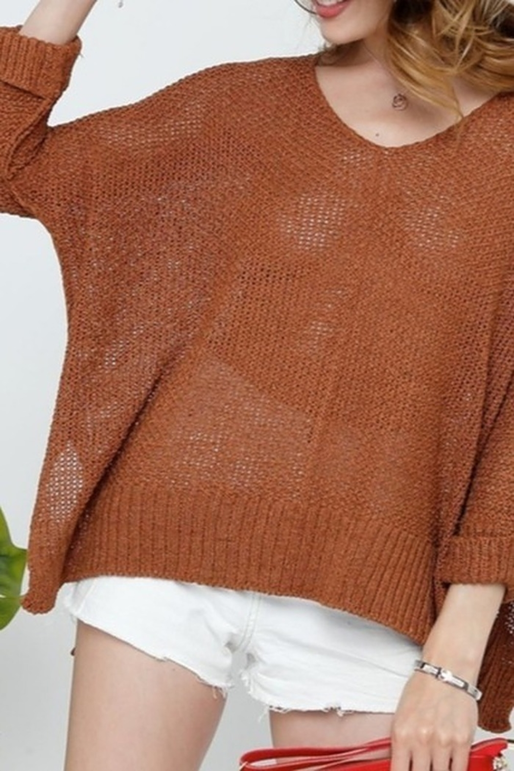 American Chic 3Q DOLMAN SLEEVES SWEATER - Front Cropped Image