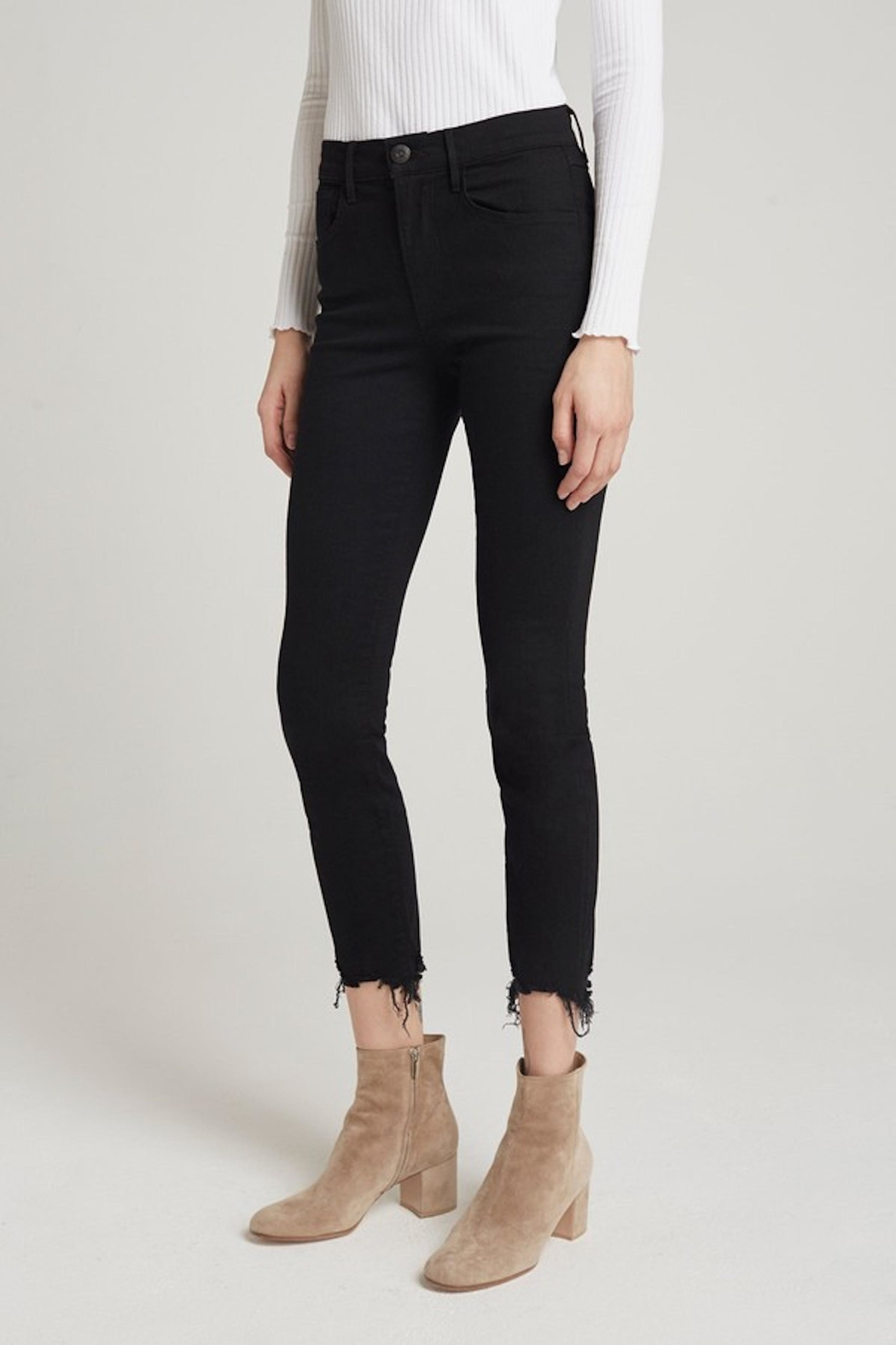 3x1 Black Cropped Jean - Front Full Image