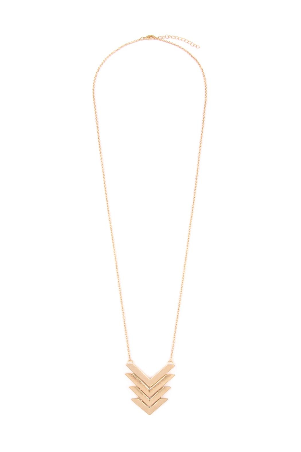 Riah Fashion 4-Line-Tapered Chevron-Pendant Necklace - Front Cropped Image