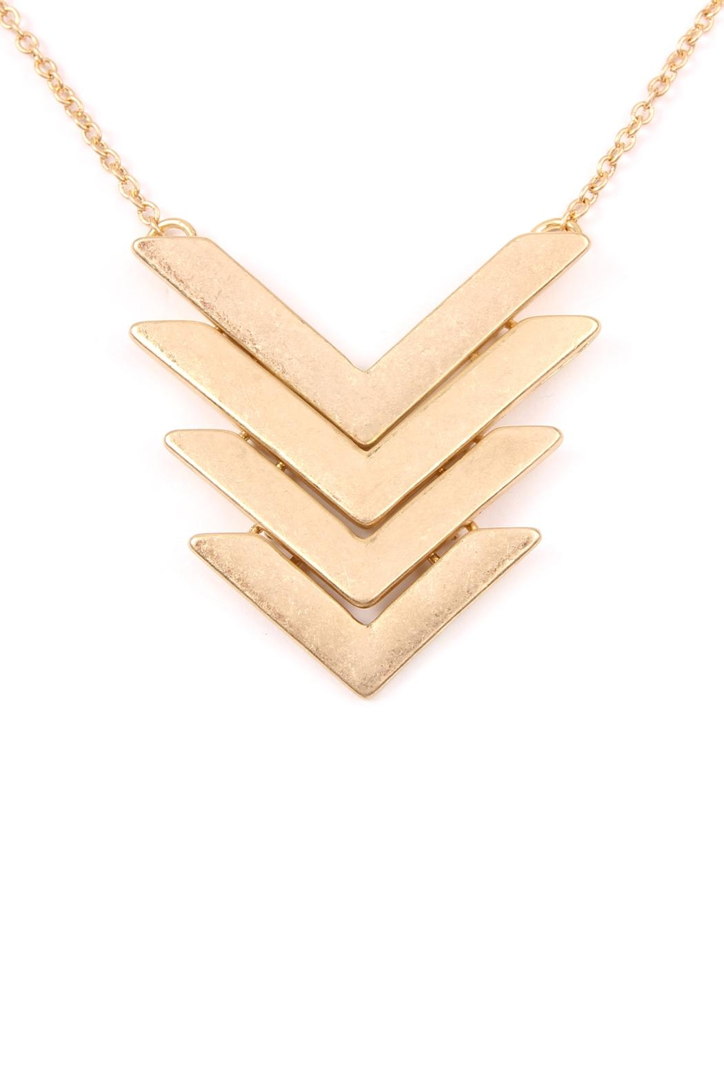 Riah Fashion 4-Line-Tapered Chevron-Pendant Necklace - Front Full Image